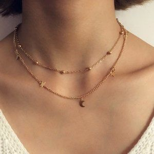 Layered Stars & Moon Necklace (Gold)